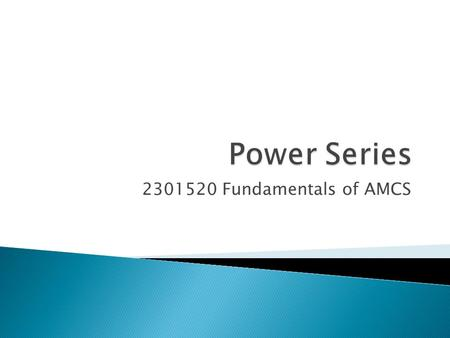 Power Series 2301520 Fundamentals of AMCS.