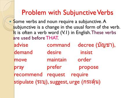 Problem with Subjunctive Verbs Some verbs and noun require a subjunctive. A subjunctive is a change in the usual form of the verb. It is often a verb word.