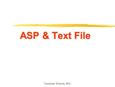ASP & Text File Computer Science, BUU.