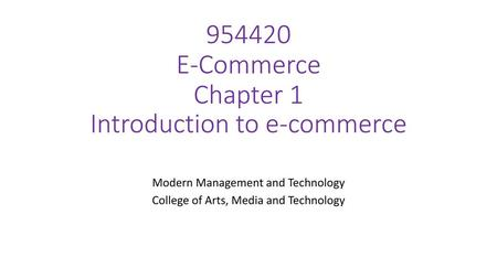 E-Commerce Chapter 1 Introduction to e-commerce