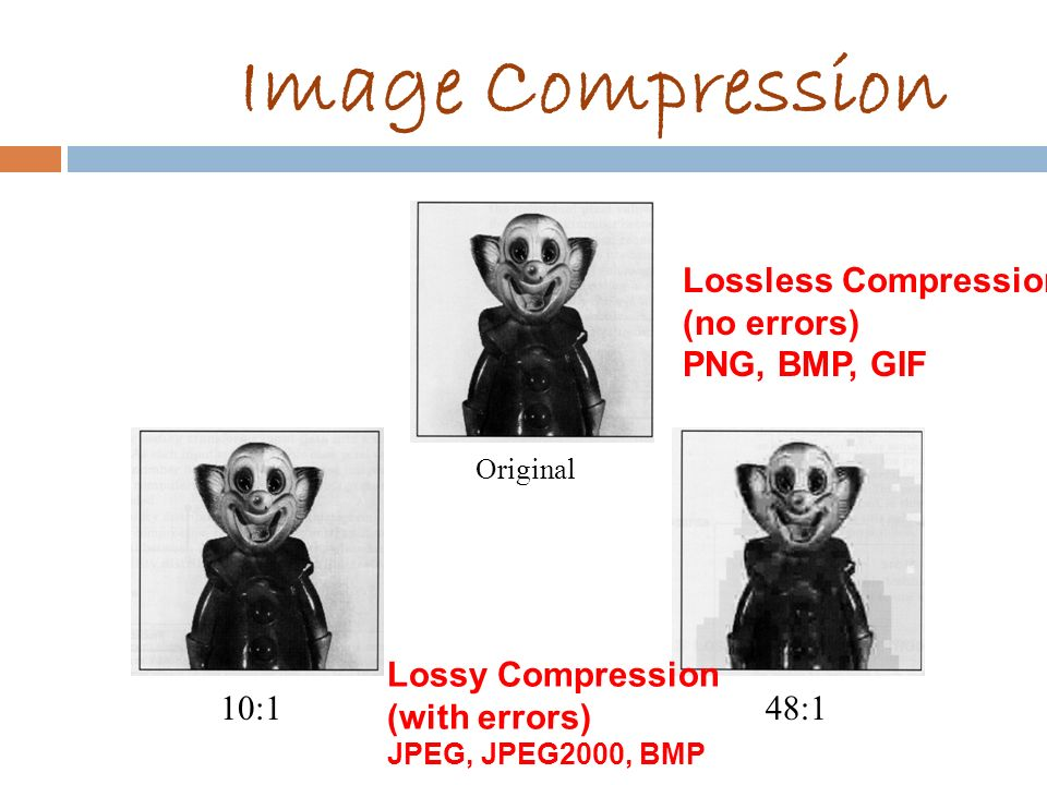 Image Compression Lossless Compression (no errors) PNG, BMP, GIF 10:1