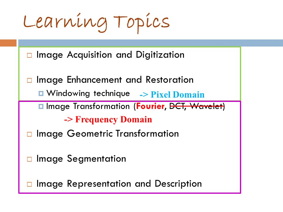 Learning Topics Image Acquisition and Digitization