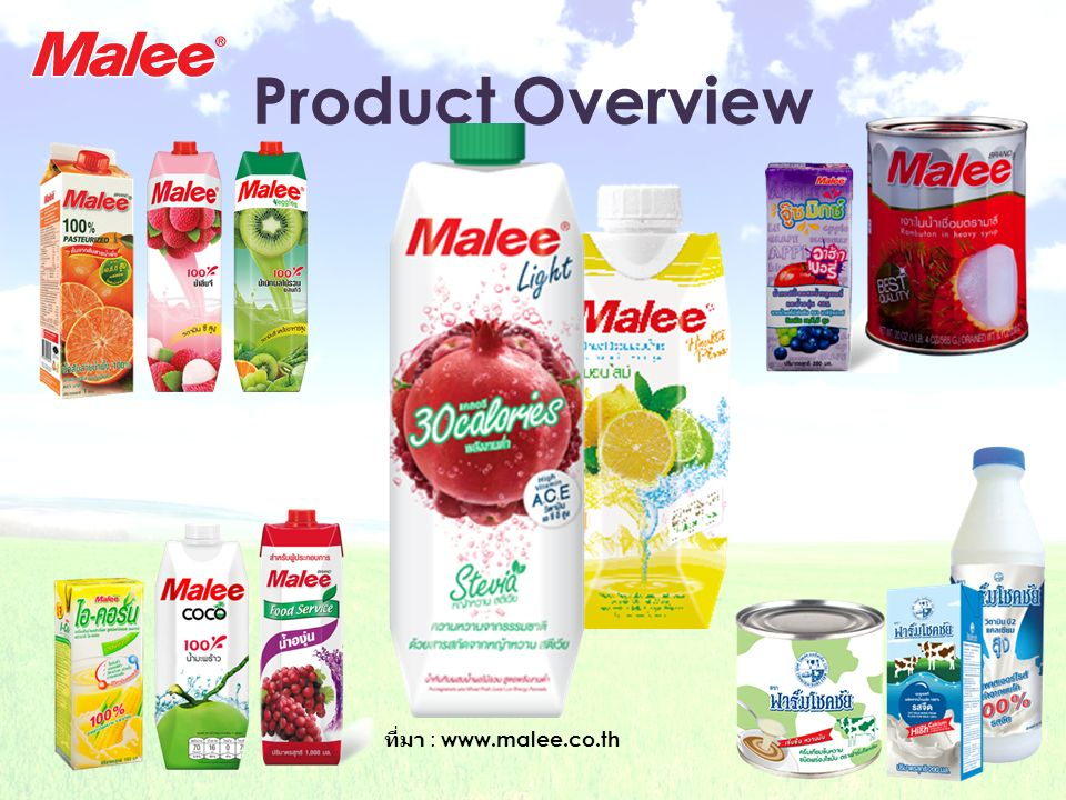 Product Overview ที่มา : www.malee.co.th