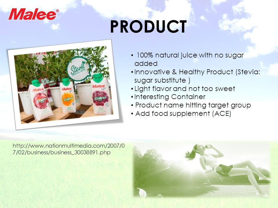 PRODUCT 100% natural juice with no sugar added