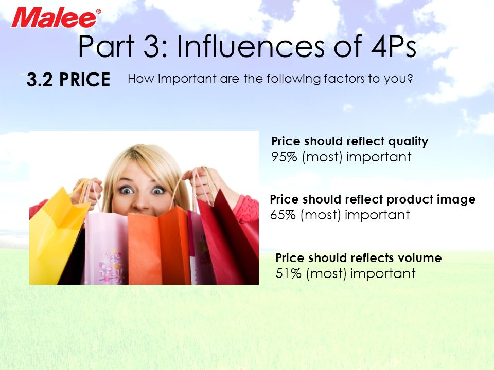 Part 3: Influences of 4Ps 3.2 PRICE 95% (most) important