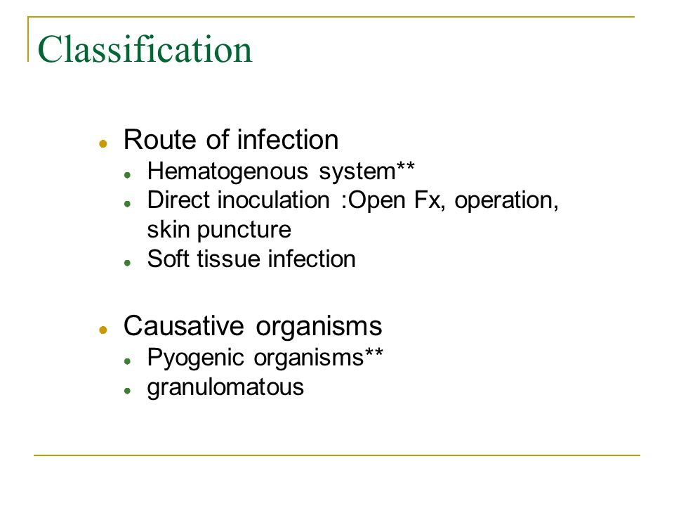 Classification Route of infection Causative organisms