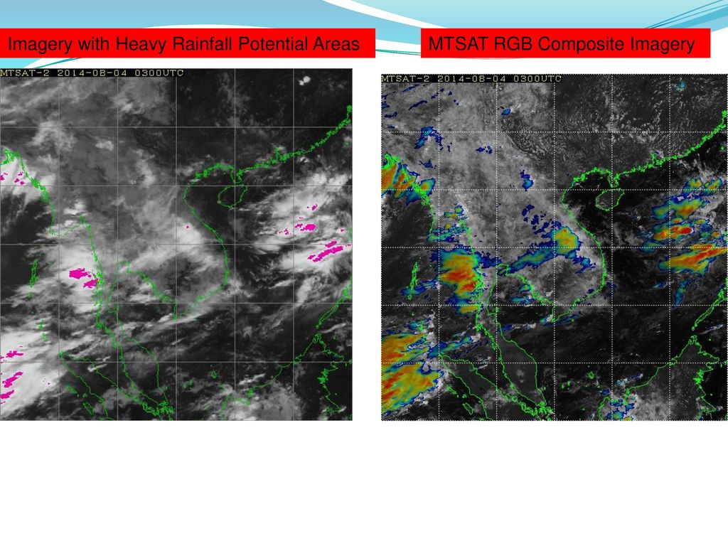 Imagery with Heavy Rainfall Potential Areas