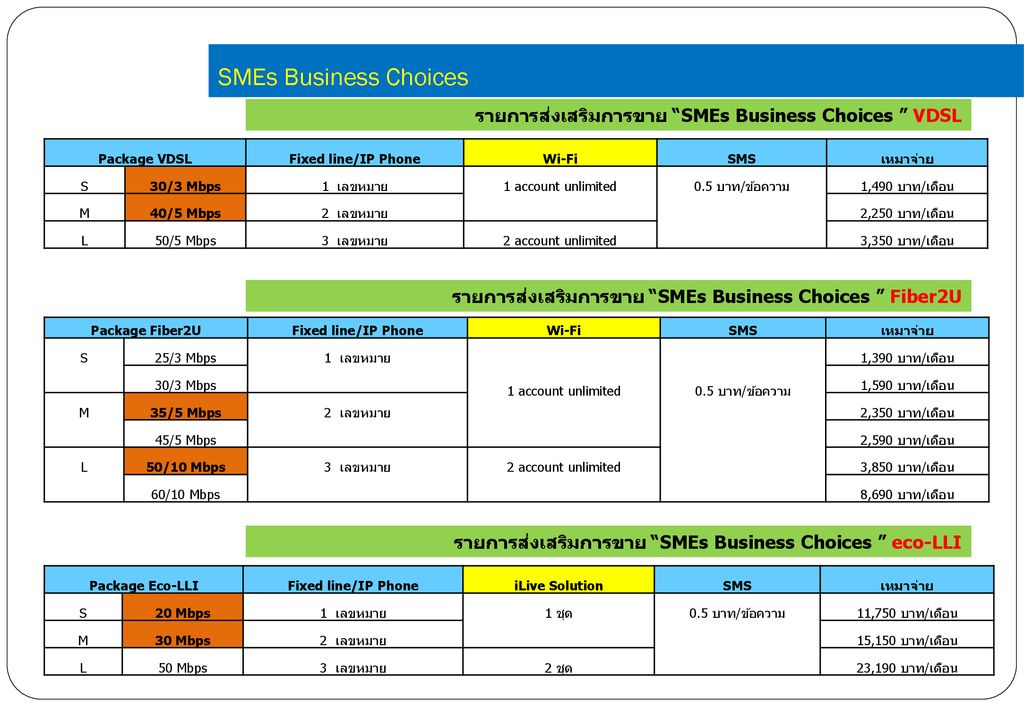 SMEs Business Choices รายการส่งเสริมการขาย SMEs Business Choices VDSL. Package VDSL. Fixed line/IP Phone.