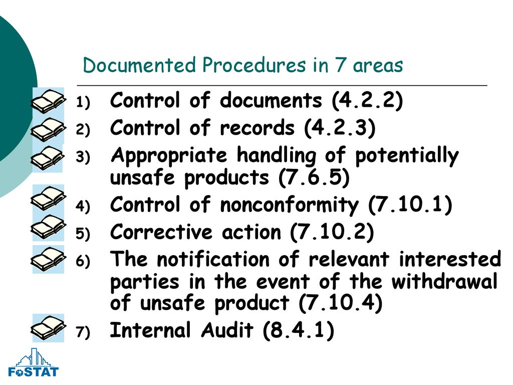 Documented Procedures in 7 areas