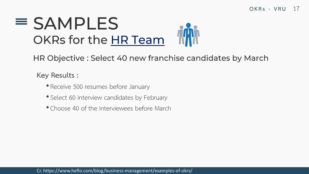 SAMPLES OKRs for the HR Team Key Results :