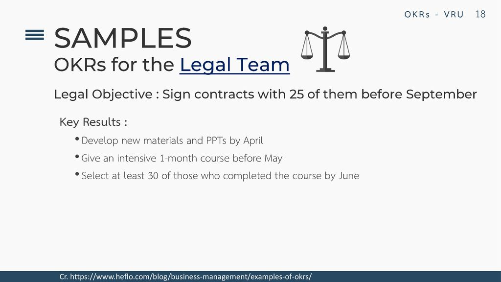 SAMPLES OKRs for the Legal Team Key Results :