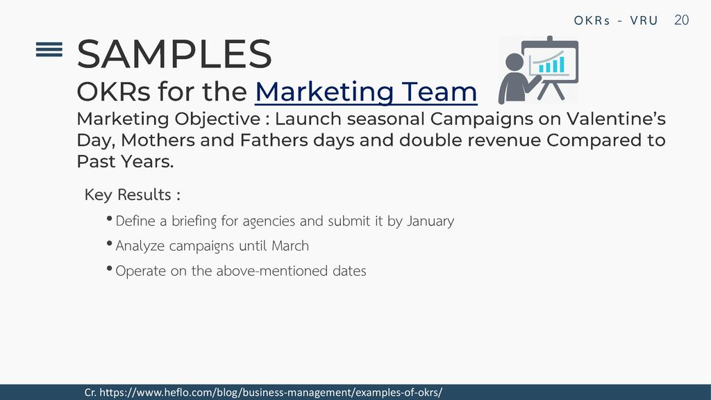 SAMPLES OKRs for the Marketing Team Key Results :