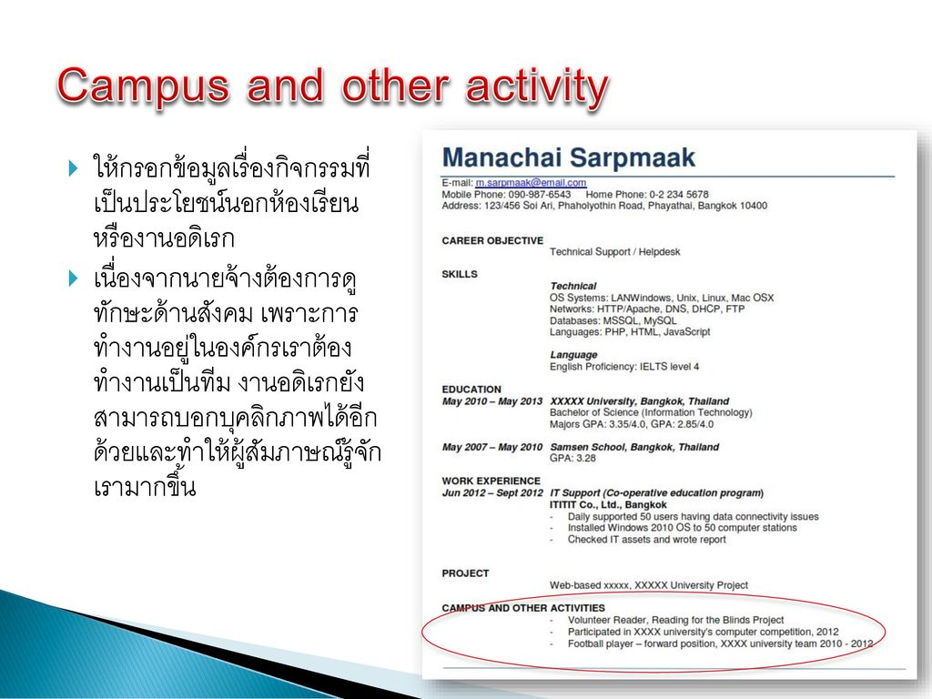 Campus and other activity