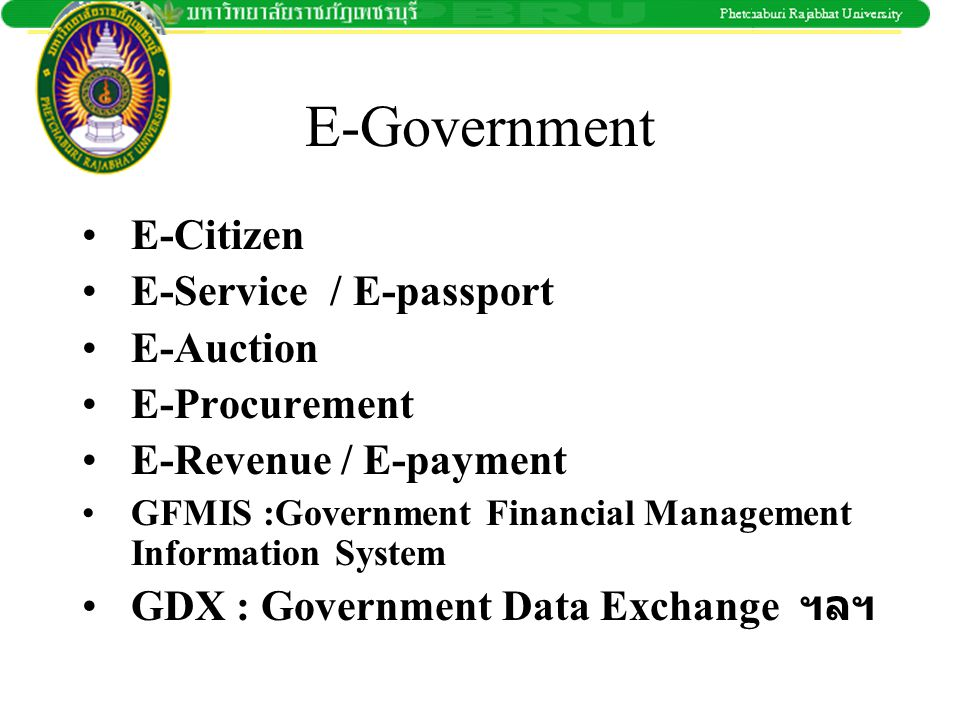 E-Government E-Citizen E-Service / E-passport E-Auction E-Procurement
