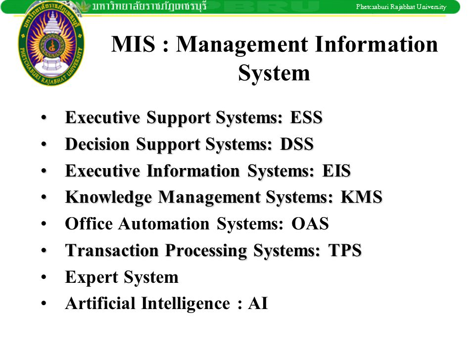 MIS : Management Information System