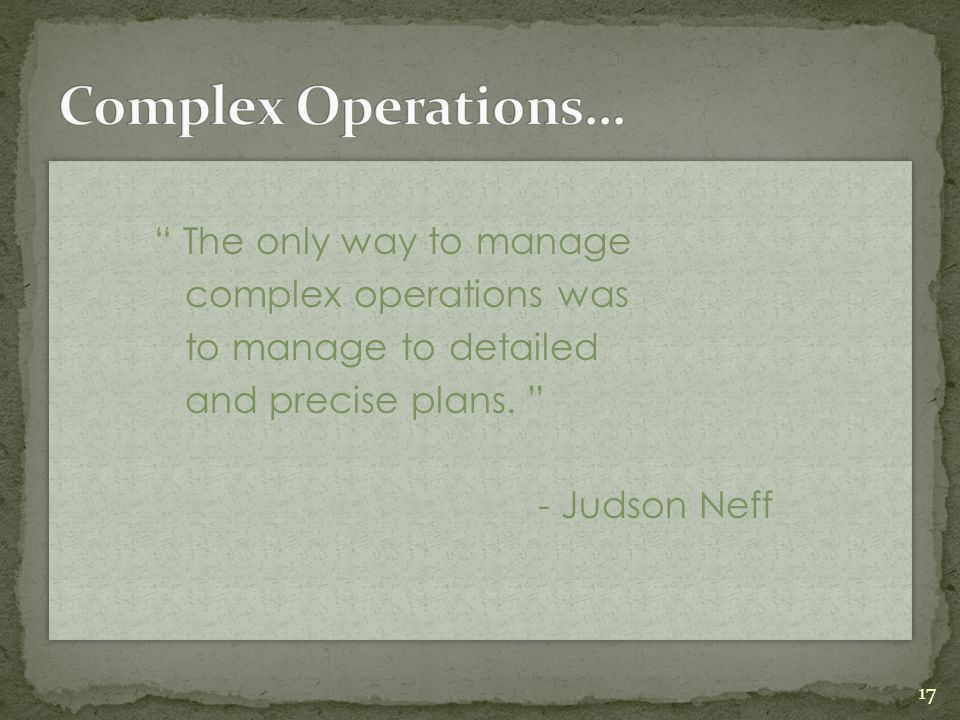 Complex Operations… The only way to manage complex operations was