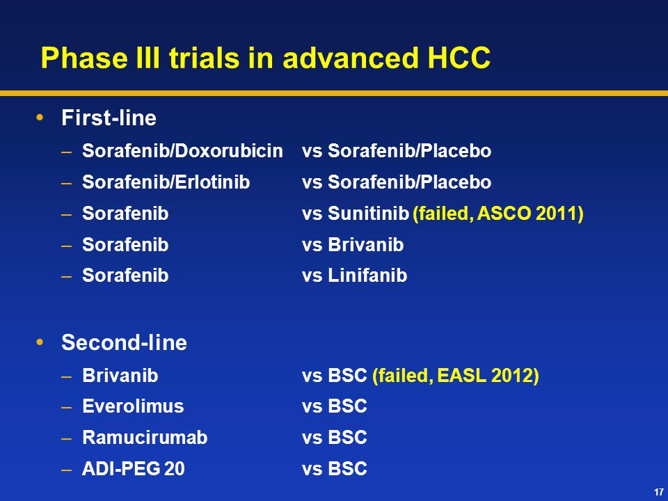Phase III trials in advanced HCC