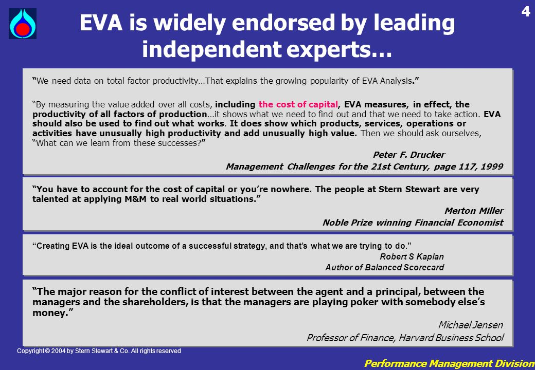 EVA is widely endorsed by leading independent experts…