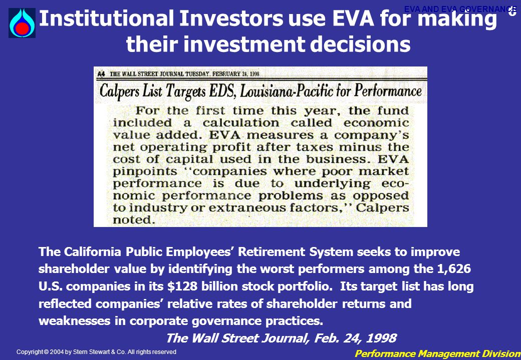 Institutional Investors use EVA for making their investment decisions