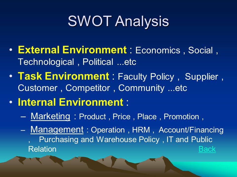 SWOT Analysis External Environment : Economics , Social , Technological , Political ...etc.