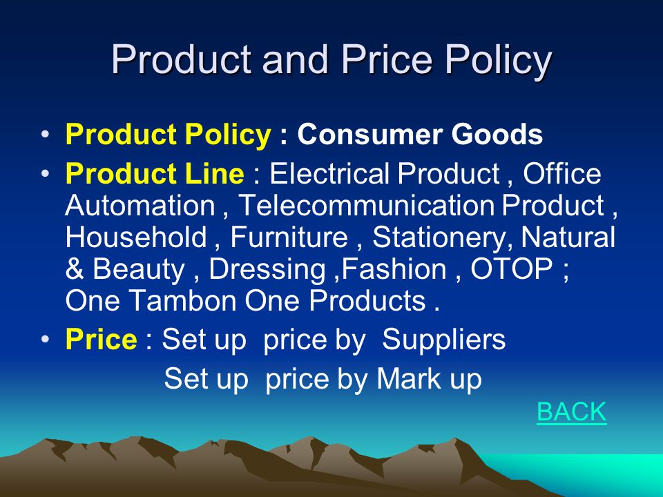 Product and Price Policy