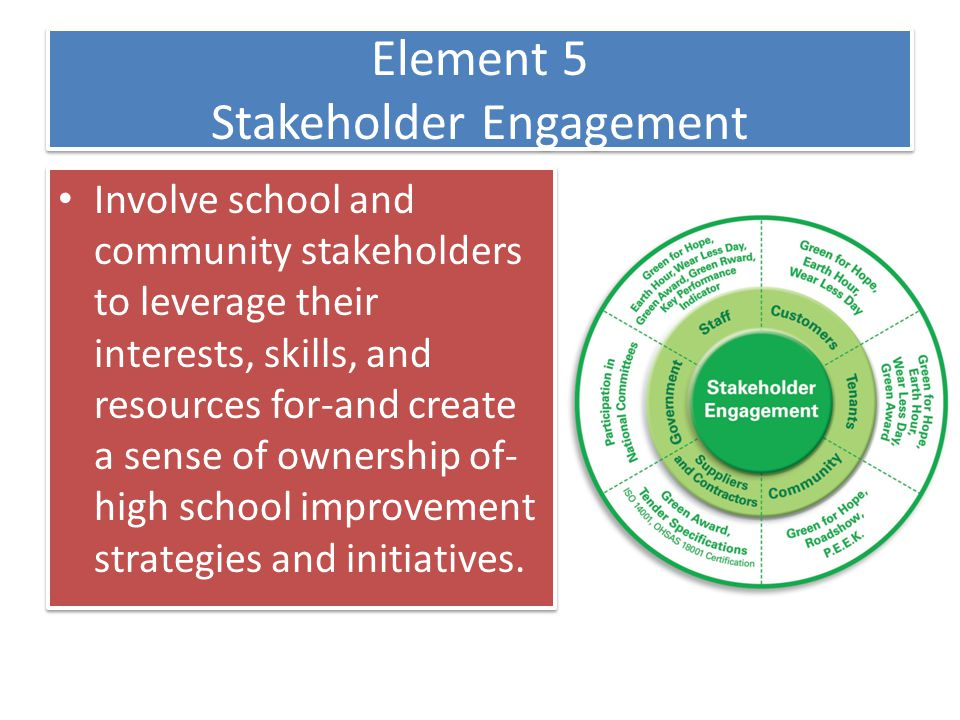 Element 5 Stakeholder Engagement