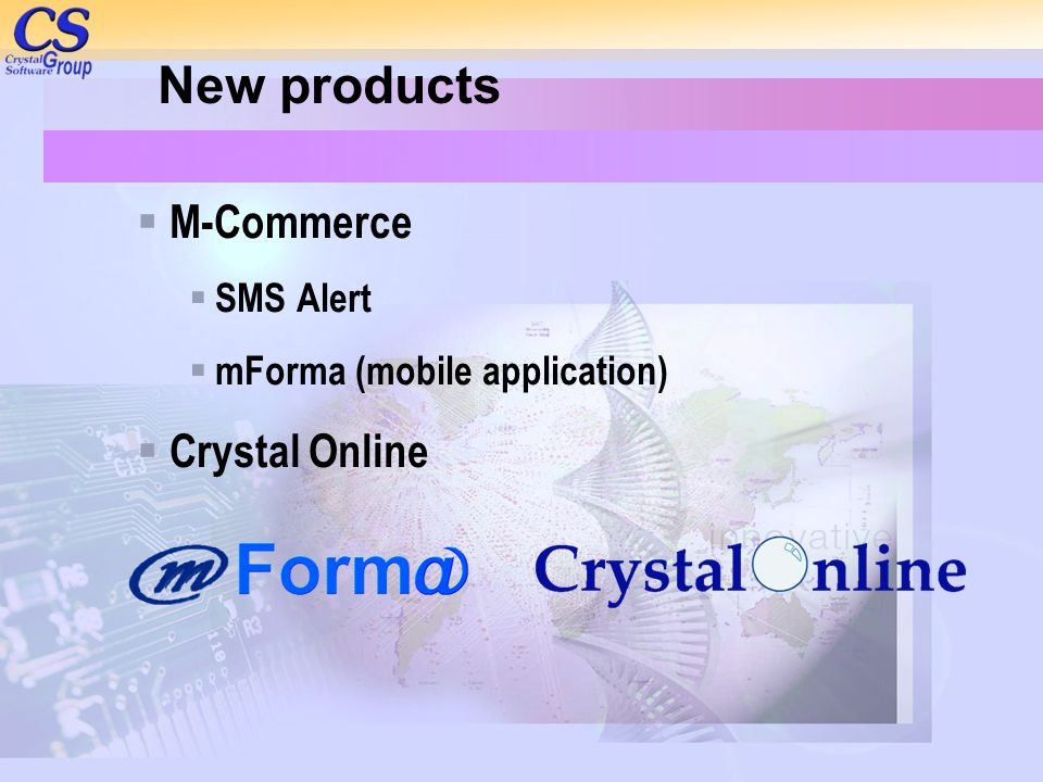 New products M-Commerce Crystal Online SMS Alert