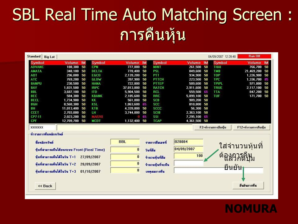 SBL Real Time Auto Matching Screen :การคืนหุ้น