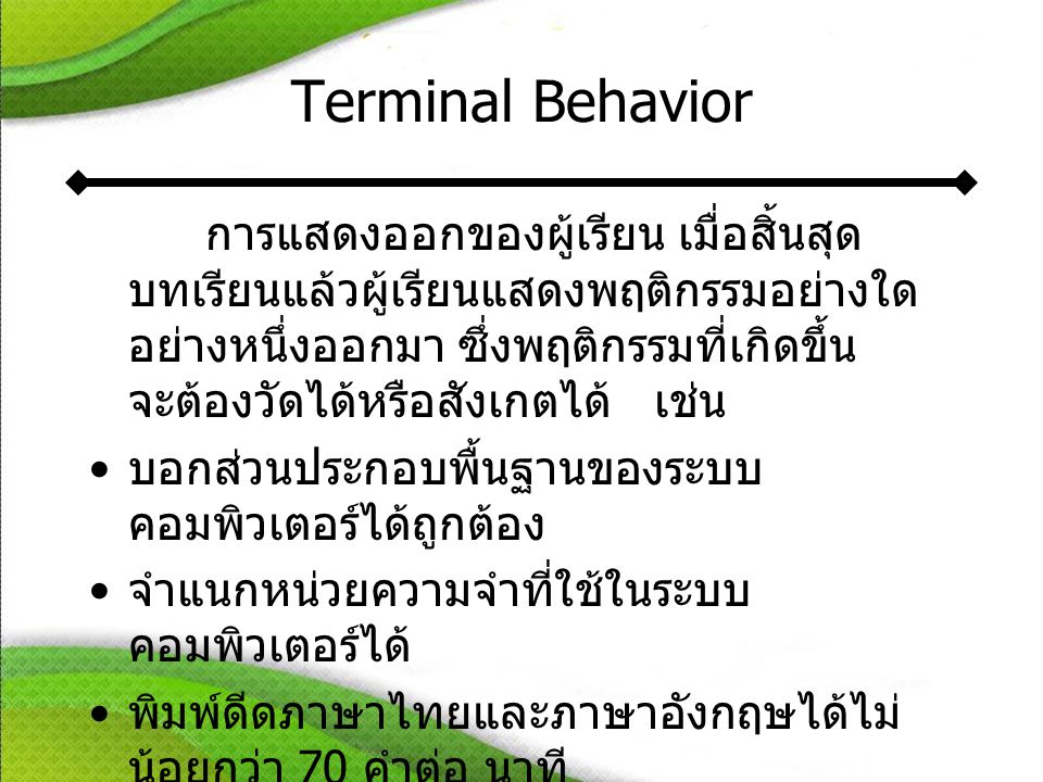 Terminal Behavior