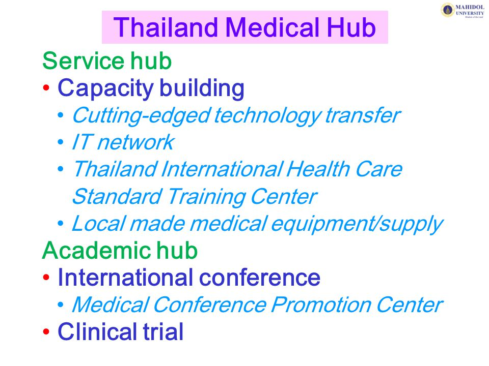 Thailand Medical Hub Service hub Capacity building Academic hub
