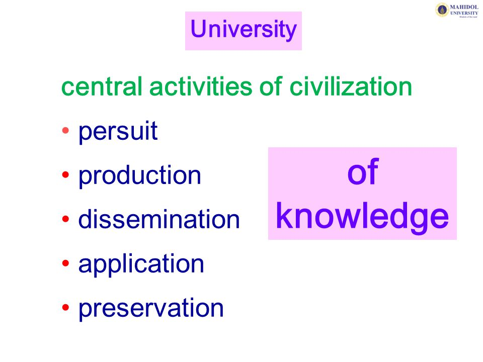 of knowledge central activities of civilization persuit production