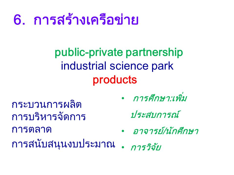 6. การสร้างเครือข่าย public-private partnership industrial science park products