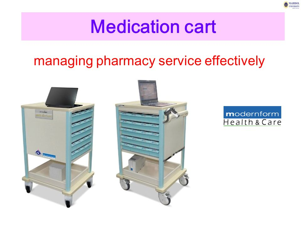 Medication cart managing pharmacy service effectively
