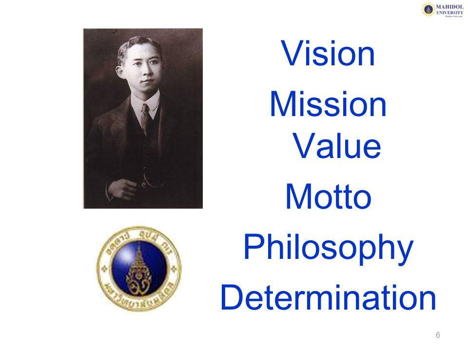 Vision Mission Value Motto Philosophy Determination 6