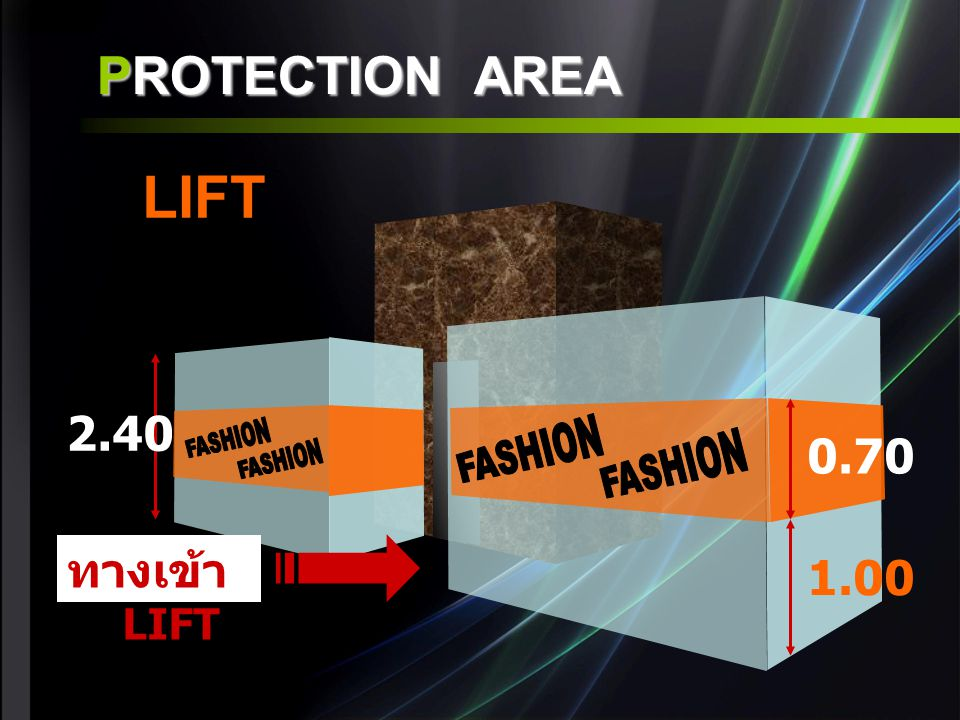 LIFT PROTECTION AREA 2.40 FASHION FASHION 0.70 FASHION FASHION