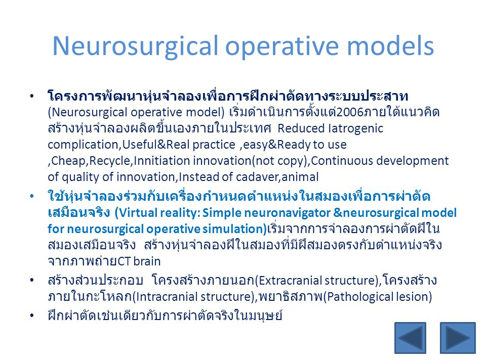 Neurosurgical operative models