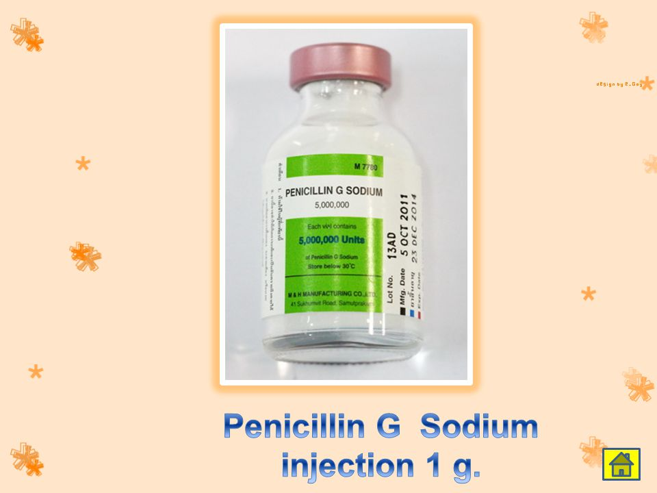 Penicillin G Sodium injection 1 g.