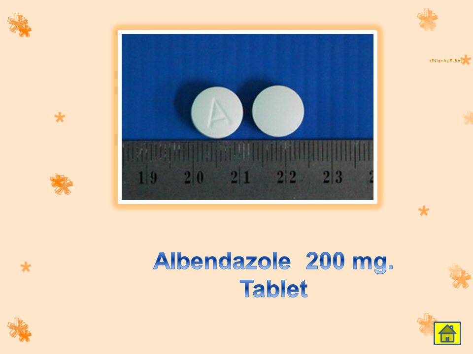 Albendazole 200 mg. Tablet