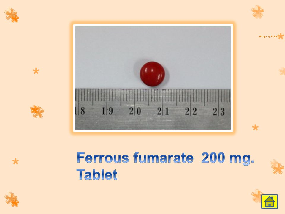 Ferrous fumarate 200 mg. Tablet