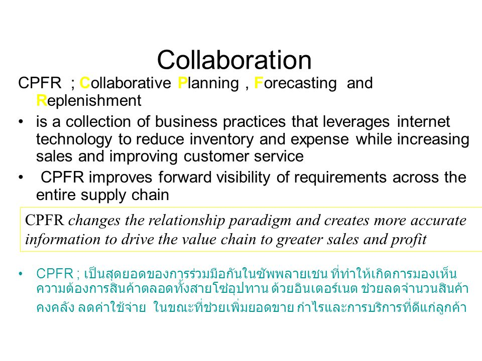 Collaboration CPFR ; Collaborative Planning , Forecasting and Replenishment.