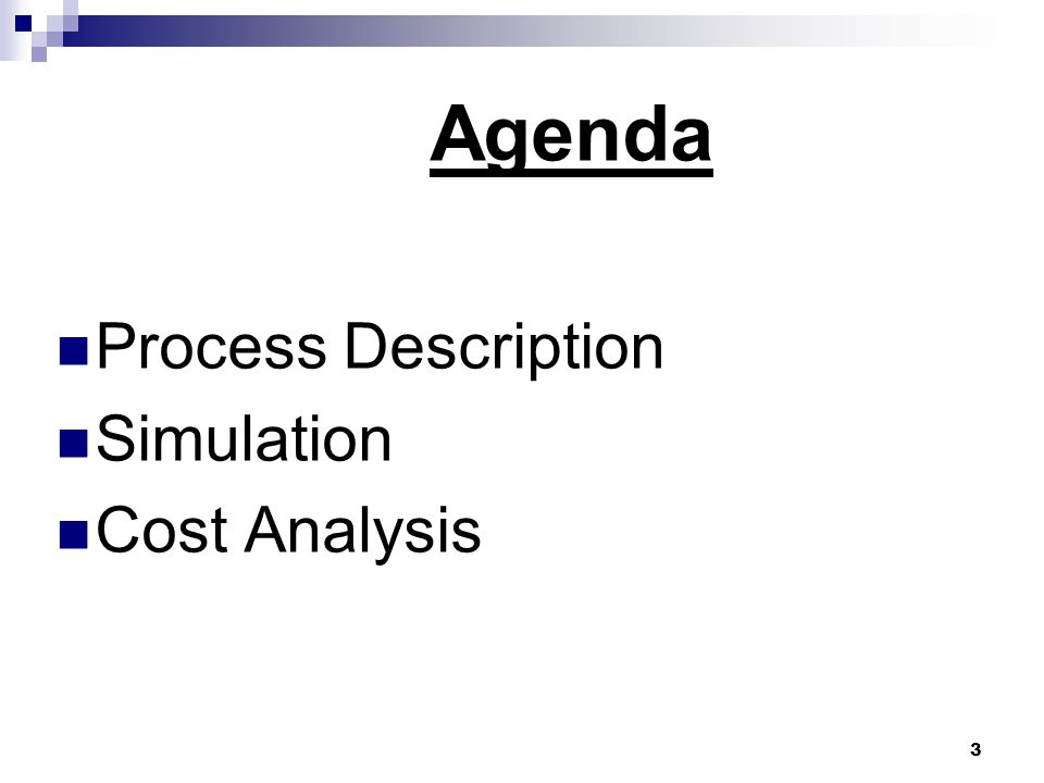 Agenda Process Description Simulation Cost Analysis