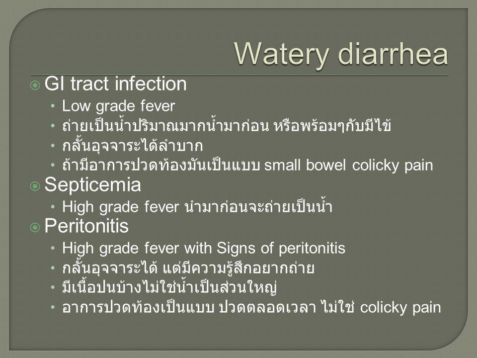 Watery diarrhea GI tract infection Septicemia Peritonitis