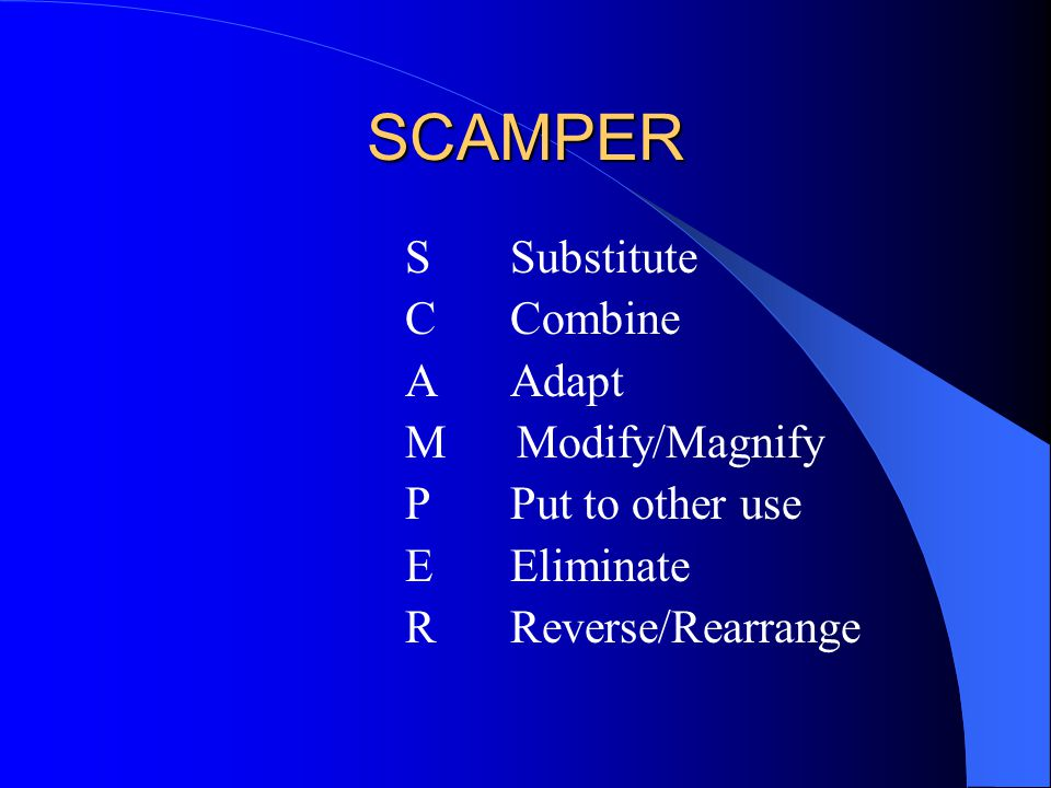 SCAMPER C Combine A Adapt M Modify/Magnify P Put to other use