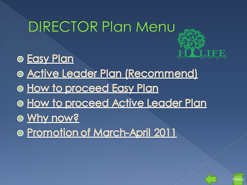 DIRECTOR Plan Menu Easy Plan Active Leader Plan (Recommend)