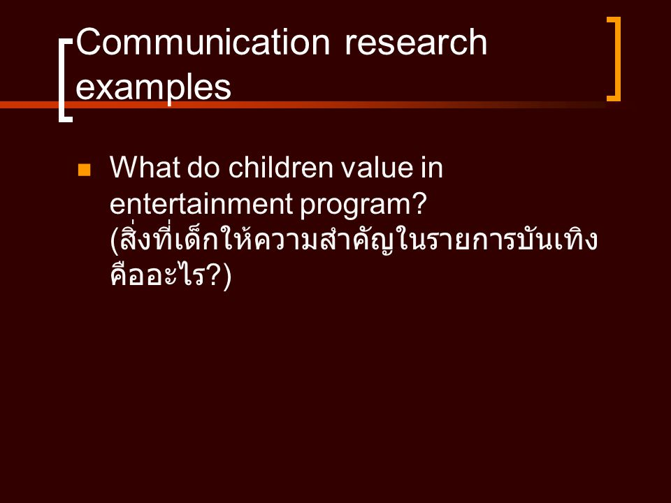 Communication research examples
