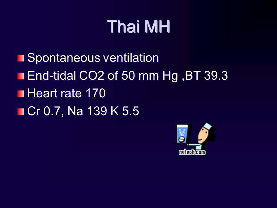 Thai MH Spontaneous ventilation End-tidal CO2 of 50 mm Hg ,BT 39.3