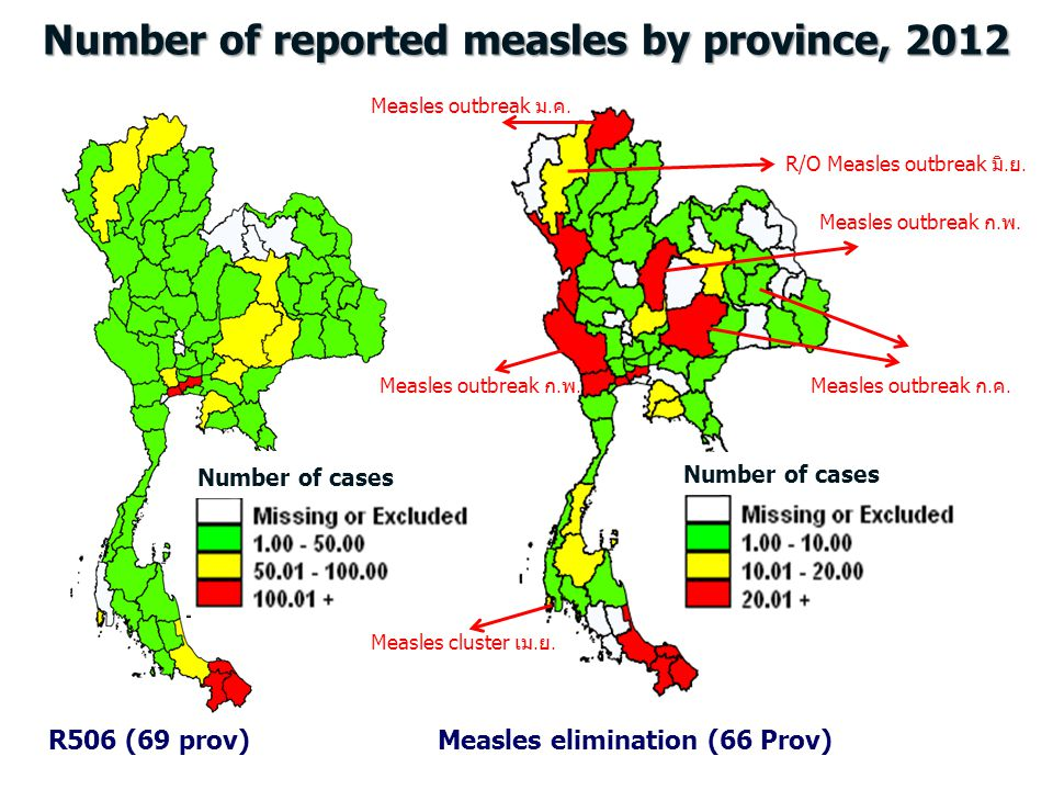 Number of reported measles by province, 2012
