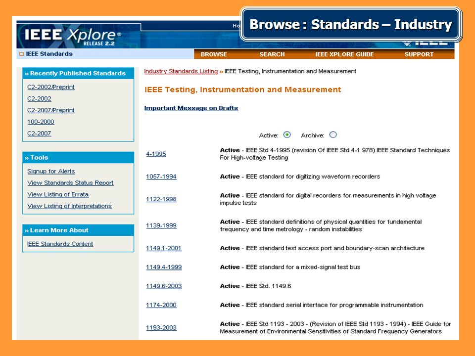 Browse : Standards – Industry