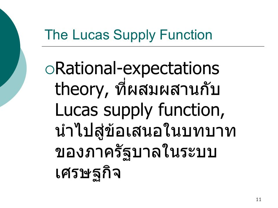 The Lucas Supply Function