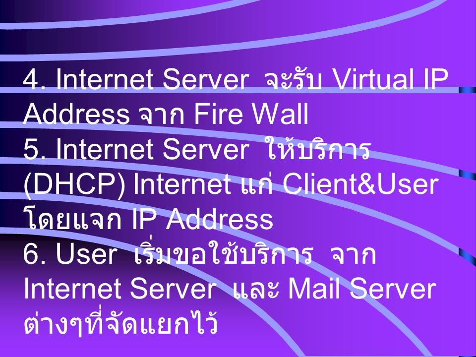 4. Internet Server จะรับ Virtual IP Address จาก Fire Wall 5
